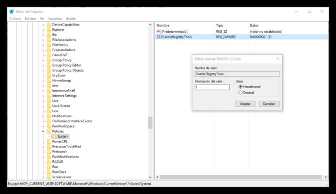 Bloquear el acceso al registro de Windows desde el registro