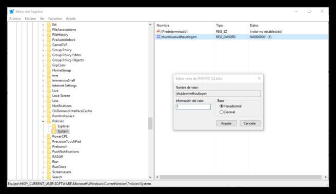 Desactivar botón apagado inicio sesión Windows 10