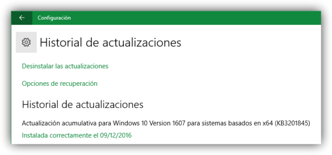 Historial de actualizaciones Windows 10 KB3201845