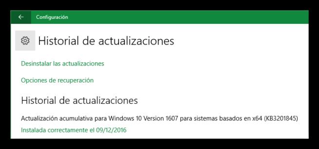 Historial de actualizaciones Windows 10 KB3201845