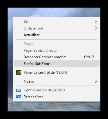 Menú contextual Windows con entrada personalizada