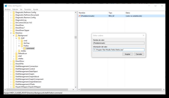 Programa a ejecutar desde menú contextual Windows