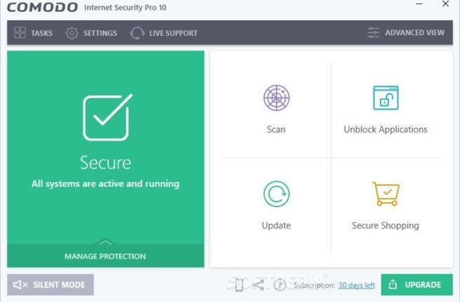Interfaz de Comodo Internet Security 10