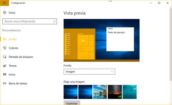 cambiar el fondo de pantalla en Windows 10