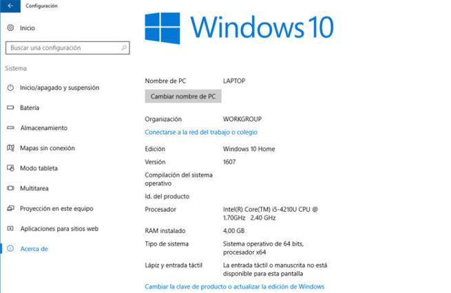 Version de Windows 10