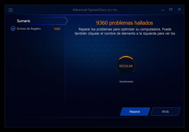 Advanced SystemCare 10 - Reparando fallos en registro