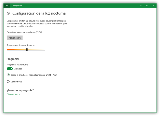 Configuracion de Luz Nocturna Windows 10 Creators Update