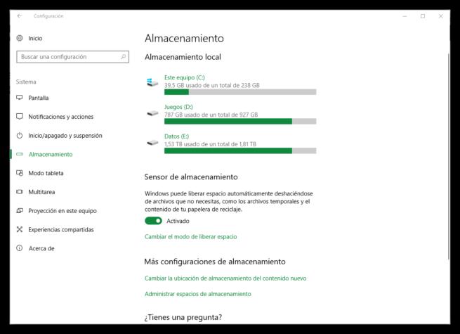 Configuracion de almacenamiento Windows 10 Creators Update