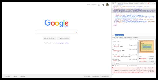 F12 código fuente Google