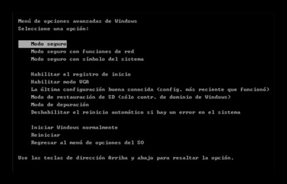 F8 Modo seguro Windows