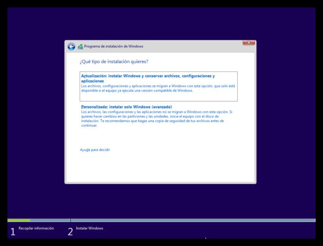Instalar Windows 10 paso a paso - tipo de instalacion