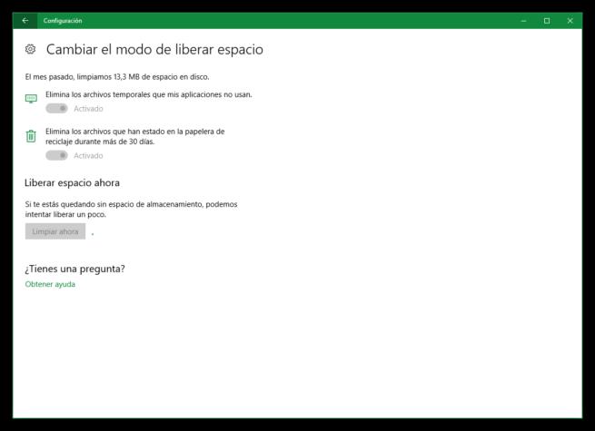 Liberando espacio Windows 10 Creators Update