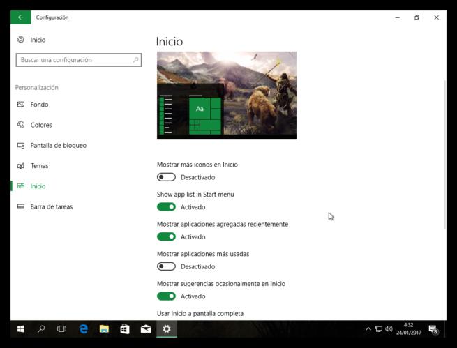Mostrar lista de aplicaciones en menu inicio Windows 10 Creators Update