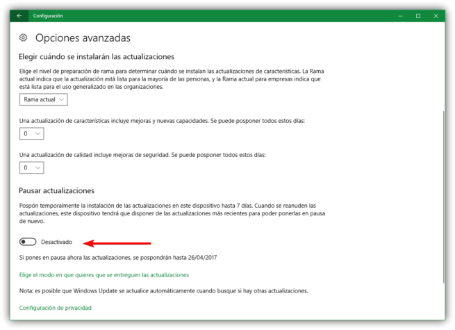 Pausar actualizaciones Windows 10 Creators Update