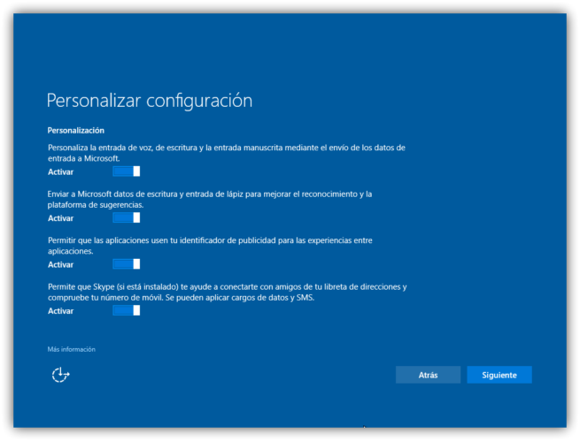 Personalizar instalacion Windows 10