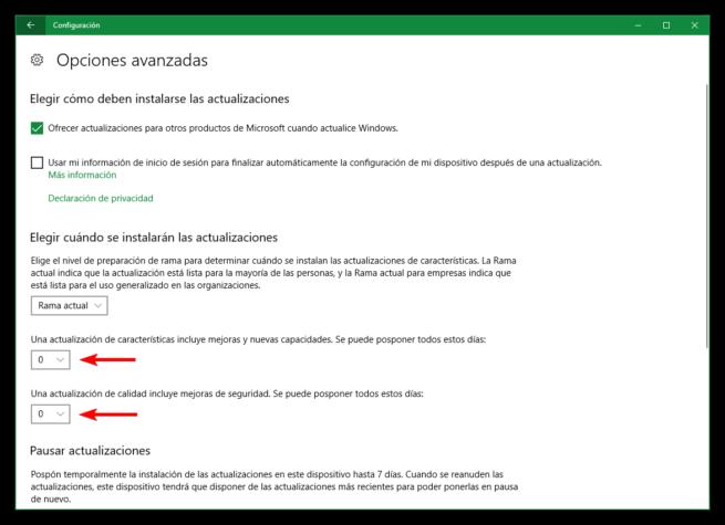 Posponer instalacion de actualizaciones Windows 10 Creators Update