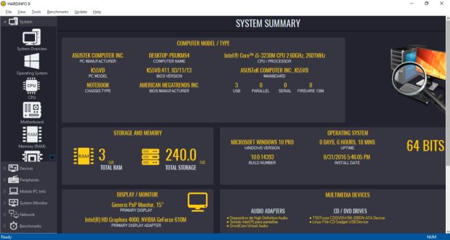 información y pruebas de rendimiento de tu PC