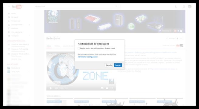 Activar notificaciones del canal de YouTube de RedesZone