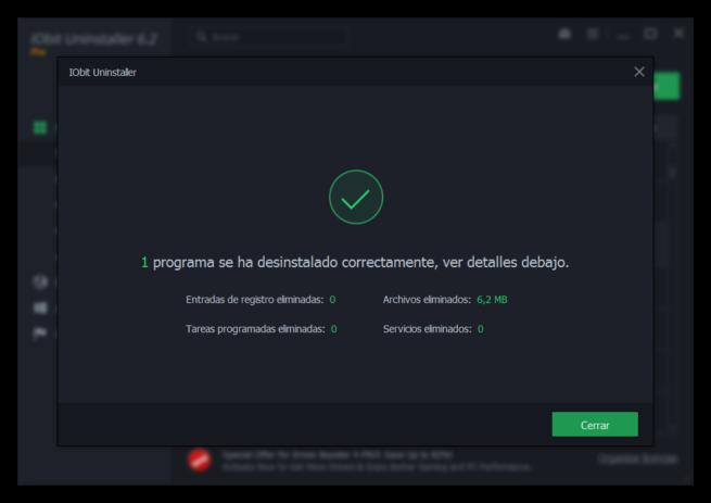 IObit Uninstaller 6 - Desinstalacion completada