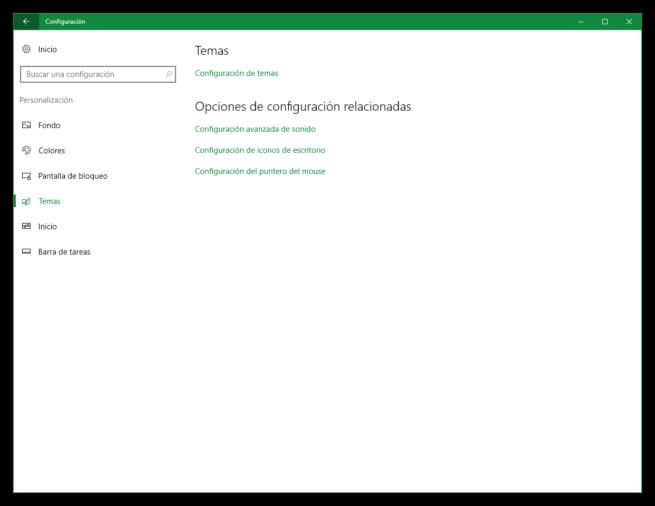 Opciones de personalización de tema en Windows 10