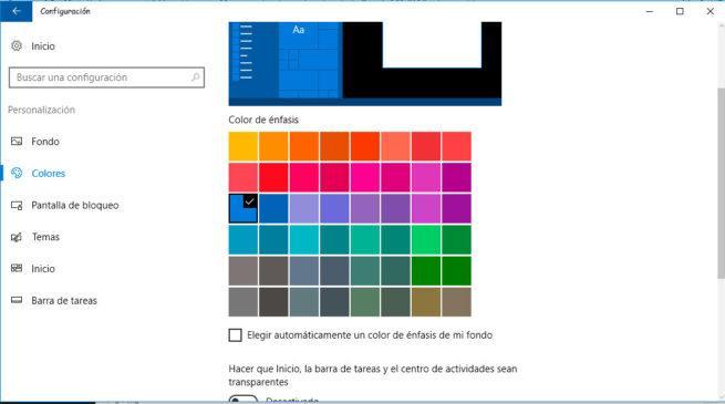 color de énfasis, barra de tareas o menú Inicio