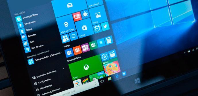menú inicio windows 10