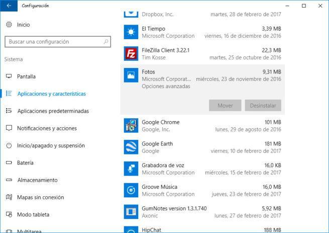 aplicaciones de Windows 10