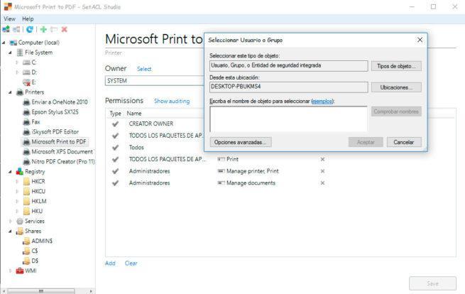 SetACL permisos de los usuarios de Windows