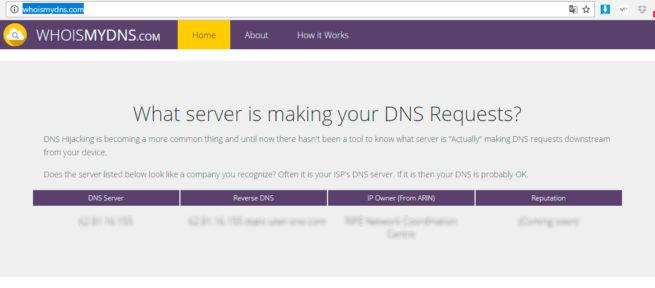 whoismydns secuestro de DNS