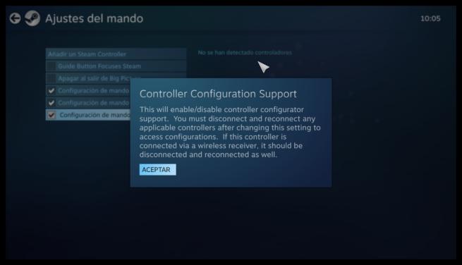 Activar soporte mandos X-Input Steam Big Picture