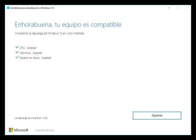 Asistente de actualización a Windows 10 Creators Update 2