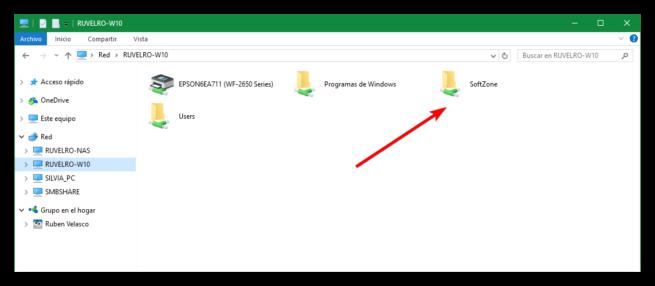 Carpetas y recursos compartidos Windows 10