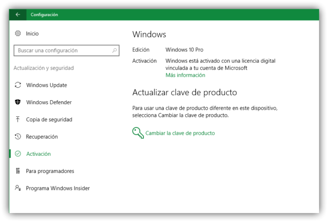 Comprobar estado licencia Windows 10