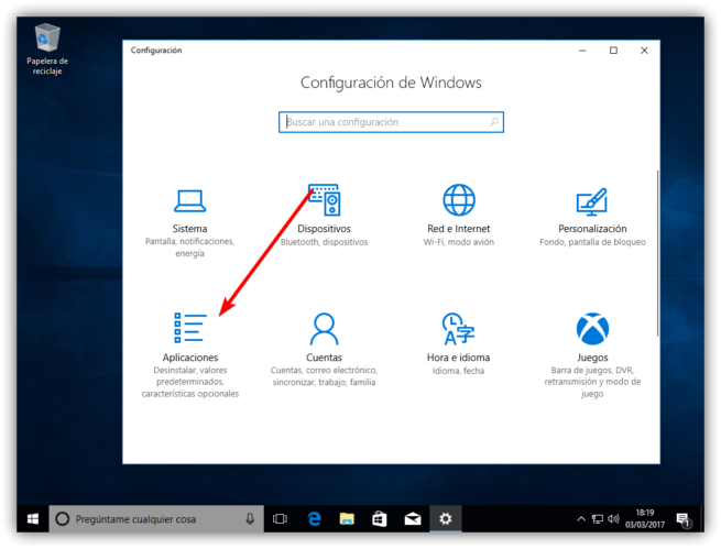 Configuracion de apps en Windows 10 Creators Update