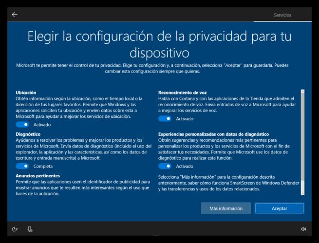 Configurar opciones de privacidad en Windows 10 Creators Update