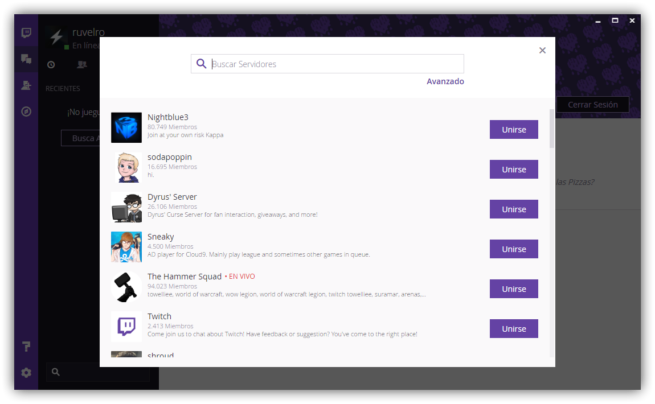 Descubrir salas Twitch Windows