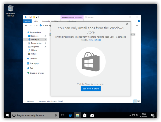Instalacion de apps bloqueada en Windows 10 Creators update
