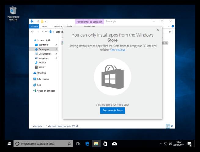 Instalacion de apps bloqueada en Windows 10 Creators update