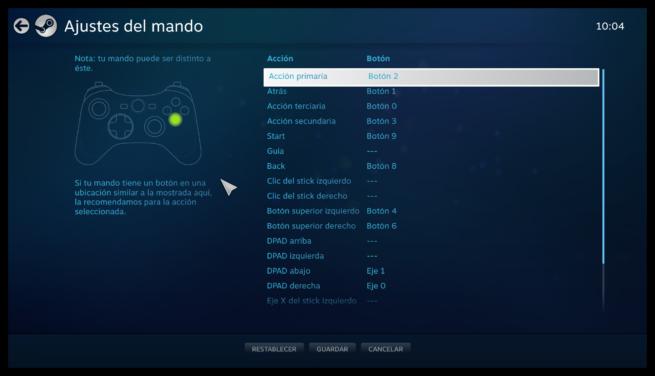 Mapeo mando X-Input Steam Big Picture