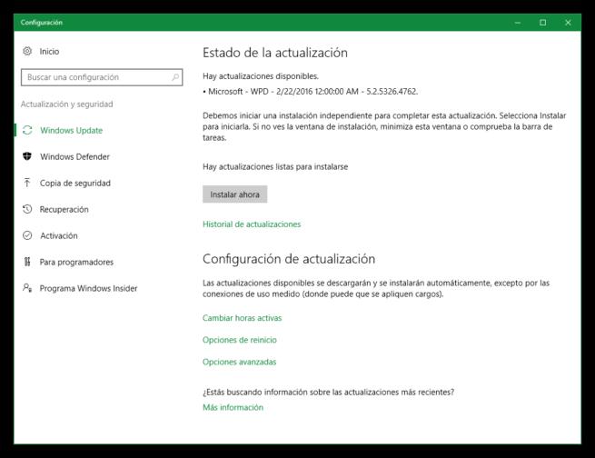 Microsoft - WPD - Actualización Windows 10