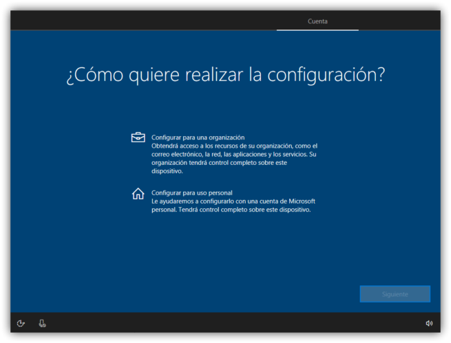 Tipo de cuenta a usar en Windows 10 Creators Update
