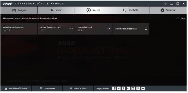 Versiones controlador AMD Radeon
