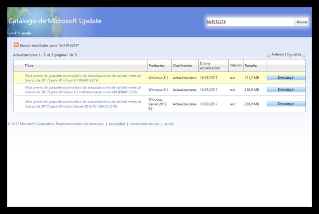 Windows Update kb4012219 Windows 8.1