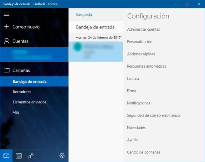 modo oscuro Correo Windows 10