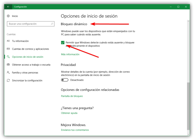 Activar el bloqueo dinamico en Windows 10 Creators Update