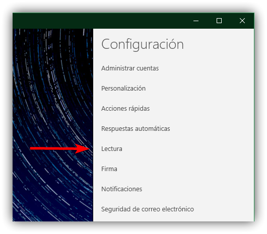 Ajustes de lectura app Correo Windows 10