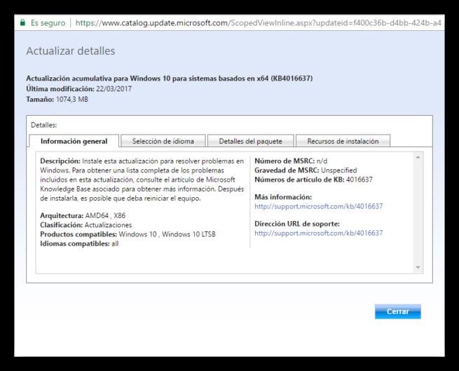 Catálogo de Microsoft Update - Detalles de actualizacion