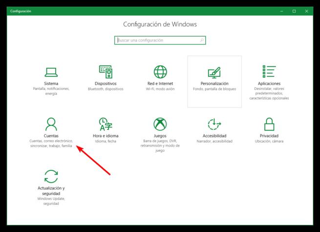 Configuracion Cuentas Windows 10 Creators Update