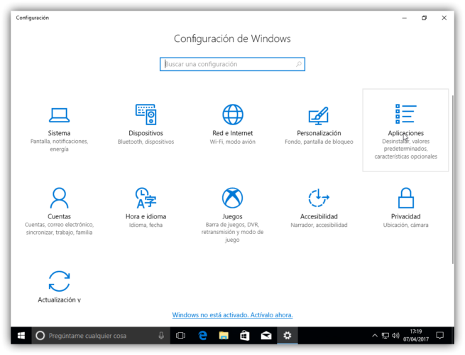 Configuracion y Aplicaciones de Windows 10 Creators Update
