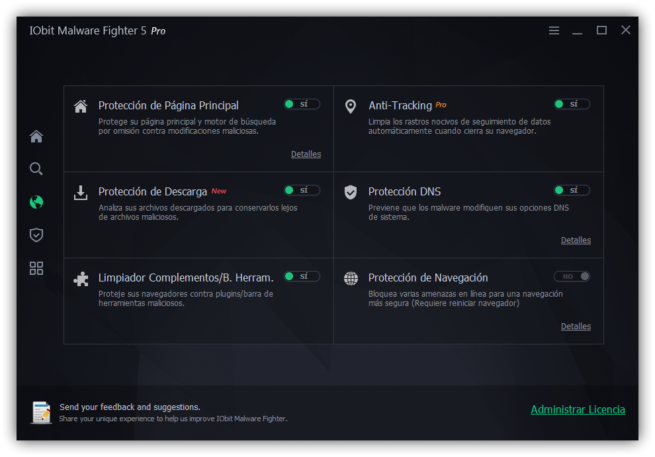 IObit Malware Fighter 5 - Modulos proteccion navegador